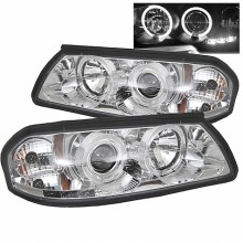 2000-2005 Chevy Impala Projector HeadLights (PAIR) - LED Halo - LED ( Replaceable LEDs ) - Chrome - High H1 (Included) - Low H1 (Included) (Spyder Auto)