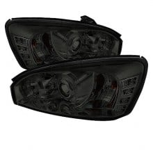 2004-2007 Chevy Malibu Projector HeadLights (PAIR) - LED Halo - LED ( Replaceable LEDs ) - Smoke - High H1 (Included) - Low H1 (Included) (Spyder Auto)