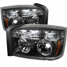 2005-2007 Dodge Dakota Projector HeadLights (PAIR) - LED Halo - Black - High H1 (Included) - Low H1 (Included) (Spyder Auto)