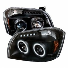 2005-2007 Dodge Magnum Projector HeadLights (PAIR) - CCFL Halo - LED ( Replaceable LEDs ) - Black - High H1 (Included) - Low 9006 (Not Included) (Spyder Auto)