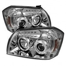 2005-2007 Dodge Magnum Projector HeadLights (PAIR) - LED Halo - LED ( Replaceable LEDs ) - Chrome - High H1 (Included) - Low 9006 (Not Included) (Spyder Auto)