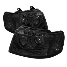 2003-2006 Ford Expedition Projector HeadLights (PAIR) - LED Halo - LED ( Replaceable LEDs ) - Smoke - High H1 (Included) - Low 9006 (Not Included) (Spyder Auto)