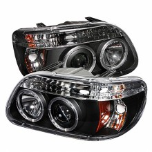 1995-2001 Ford Explorer 1PC Projector HeadLights (PAIR) - LED Halo - Black - High H1 (Included) - Low H1 (Included) (Spyder Auto)