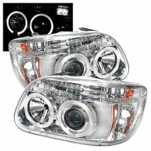 1995-2001 Ford Explorer 1PC Projector HeadLights (PAIR) - LED Halo - Chrome - High H1 (Included) - Low H1 (Included) (Spyder Auto) Replacement
