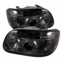 1995-2001 Ford Explorer 1PC Projector HeadLights (PAIR) - LED Halo - Smoke - High H1 (Included) - Low H1 (Included) (Spyder Auto)