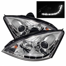 2000-2004 Ford Focus Projector HeadLights (PAIR) - ( Do Not Fit SVT Model ) - DRL - Chrome - High H1 (Included) - Low H1 (Included) (Spyder Auto)