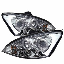 2000-2004 Ford Focus Projector HeadLights (PAIR) - ( Do Not Fit SVT Model ) - LED Halo - Black - High H1 (Included) - Low H1 (Included) (Spyder Auto)