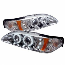 1994-1998 Ford Mustang 1PC Projector HeadLights (PAIR) - CCFL Halo - Amber Reflector - LED ( Replaceable LEDs ) - Chrome - High H1 (Included) - Low H1 (Included) (Spyder Auto)