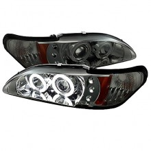 1994-1998 Ford Mustang 1PC Projector HeadLights (PAIR) - CCFL Halo - Amber Reflector - LED ( Replaceable LEDs ) - Smoke - High H1 (Included) - Low H1 (Included) (Spyder Auto)