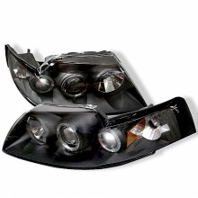 1999-2004 Ford Mustang Projector HeadLights (PAIR) - LED Halo - Black - High H1 (Included) - Low H1 (Included) (Spyder Auto)