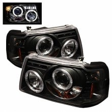 2001-2011 Ford Ranger 1PC Projector HeadLights (PAIR) - LED Halo - LED ( Replaceable LEDs ) - Black - High H1 (Included) - Low H1 (Included) (Spyder Auto)