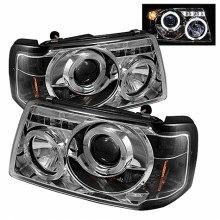 2001-2011 Ford Ranger 1PC Projector HeadLights (PAIR) - LED Halo - LED ( Replaceable LEDs ) - Chrome - High H1 (Included) - Low H1 (Included) (Spyder Auto)