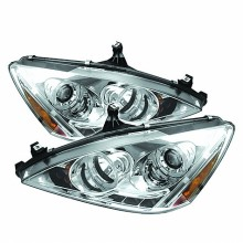2003-2007 Honda Accord Projector HeadLights (PAIR) - LED Halo - Amber Reflector - LED ( Replaceable LEDs ) - Chrome - High H1 (Included) - Low H1 (Included) (Spyder Auto)