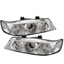 1994-1997 Honda Accord 1PC Projector HeadLights (PAIR) - LED Halo - Amber Reflector - Chrome - High H1 (Included) - Low H1 (Included) (Spyder Auto)