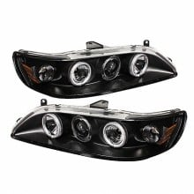 1998-2002 Honda Accord 1PC Projector HeadLights (PAIR) - CCFL Halo - Black - High H1 (Included) - Low H1 (Included) (Spyder Auto)