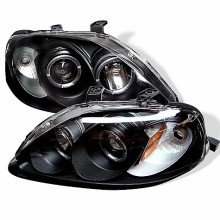 1999-2000 Honda Civic Projector HeadLights (PAIR) - LED Halo - Black - High H1 (Included) - Low H1 (Included) (Spyder Auto)