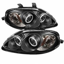 1999-2000 Honda Civic Projector HeadLights (PAIR) - CCFL Halo - Black - High H1 (Included) - Low H1 (Included) (Spyder Auto)