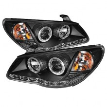 2007-2010 Hyundai Elantra Projector HeadLights (PAIR) - LED Halo - DRL - Black - High H1 (Included) - Low H7 (Included) (Spyder Auto)