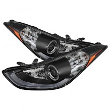 2011-2013 Hyundai Elantra Projector HeadLights (PAIR) - LED Halo - DRL - Black - High H1 (Included) - Low H7 (Included) (Spyder Auto)