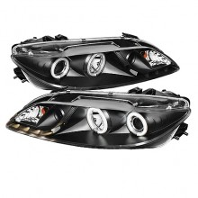 2003-2005 Mazda 6 With Fog Lights (PAIR) Projector Headlights - CCFL Halo - DRL - Black - High H1 (Included) - Low H1 (Included) (Spyder Auto)