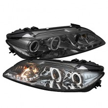 2003-2005 Mazda 6 With Fog Lights (PAIR) Projector Headlights - CCFL Halo - DRL - Smoke - High H1 (Included) - Low H1 (Included) (Spyder Auto)