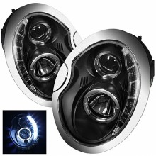 2002-2006 Mini Cooper Projector HeadLights (PAIR) - DRL - Black - High H1 (Included) - Low H1 (Included) (Spyder Auto)