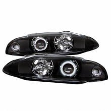 1997-1999 Mitsubishi Eclipse Projector HeadLights (PAIR) - CCFL Halo - Black - High H1 (Included) - Low H1 (Included) (Spyder Auto)