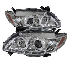 2009-2010 Toyota Corolla Projector HeadLights (PAIR) - LED Halo - DRL - Chrome - High H1 (Included) - Low H1 (Included) (Spyder Auto)