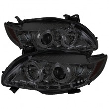 2009-2010 Toyota Corolla Projector HeadLights (PAIR) - LED Halo - DRL - Smoke - High H1 (Included) - Low H1 (Included) (Spyder Auto)