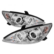 2002-2006 Toyota Camry Projector HeadLights (PAIR) - LED Halo - LED ( Replaceable LEDs ) - Chrome - High H1 (Included) - Low H1 (Included) (Spyder Auto)