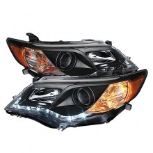 2012-2013 Toyota Camry Projector HeadLights (PAIR) - DRL - Black - High 9005 (Not Included - Low 9006 (Included) (Spyder Auto)