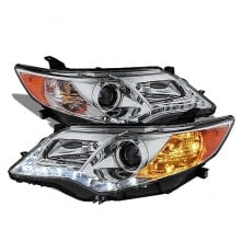 2012-2013 Toyota Camry Projector HeadLights (PAIR) - DRL - Chrome - High 9005 (Not Included - Low 9006 (Included) (Spyder Auto)