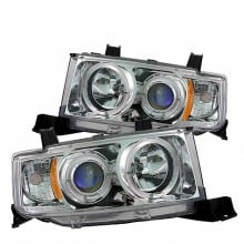 2003-2007 Scion XB Projector HeadLights (PAIR) - LED Halo - Chrome - High H1 (Included) - Low 9006 (Not Included) (Spyder Auto)