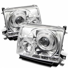 1997-2000 Toyota Tacoma Projector HeadLights (PAIR) - LED Halo - LED ( Replaceable LEDs ) - Chrome - High H1 (Included) - Low H1 (Included) (Spyder Auto)