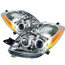 2006-2008 Toyota Yaris 2DR Projector HeadLights (PAIR) - LED Halo- LED ( Replaceable LEDs ) - Chrome - High H1 (Included) - Low H1 (Included) (Spyder Auto)