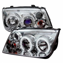 1999-2005 Volkswagen Jetta Projector HeadLights (PAIR) - CCFL Halo - Chrome - High H1 (Included) - Low H1 (Included) (Spyder Auto)
