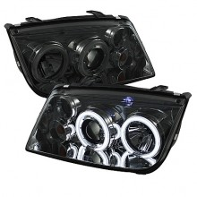 1999-2005 Volkswagen Jetta Projector HeadLights (PAIR) - CCFL Halo - Smoke - High H1 (Included) - Low H1 (Included) (Spyder Auto)