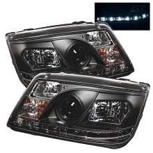 1999-2005 Volkswagen Jetta Projector HeadLights (PAIR) - DRL - Black - High H1 (Included) - Low H1 (Included) (Spyder Auto)