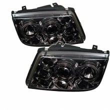 1999-2005 Volkswagen Jetta Projector HeadLights (PAIR) - LED Halo - Smoke - High H1 (Included) - Low H1 (Included) (Spyder Auto)