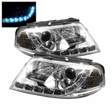2001-2005 Volkswagen Passat Projector HeadLights (PAIR) - DRL - Chrome - High H1 (Included) - Low H1 (Included) (Spyder Auto)