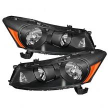 2008-2012 Honda Accord 4Dr Amber Crystal HeadLights (PAIR) - Black (Spyder Auto)