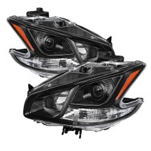 2009-2012 Nissan Maxima Amber Crystal HeadLights (PAIR) - Black (Spyder Auto)