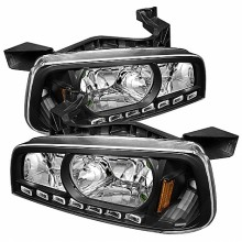 2006-2010 Dodge Charger 1PC LED Crystal HeadLights (PAIR) - Black (Spyder Auto)