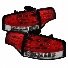 2006-2008 Audi A4 4Dr LED Tail Lights (PAIR) - Red Clear (Spyder Auto)