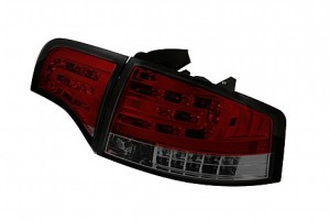 2006-2008 Audi A4 4Dr LED Tail Lights (PAIR) - Red Smoke (Spyder Auto)