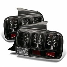 2005-2009 Ford Mustang LED Tail Lights (PAIR) - Black (Spyder Auto)