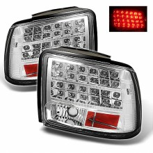 1999-2004 Ford Mustang (will not fit the Cobra model) LED Tail Lights (PAIR) - Chrome (Spyder Auto)