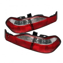 1998-2000 Honda Accord 4Dr Euro Style Tail Lights (PAIR) - Red Clear (Spyder Auto)