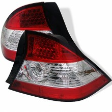 2004-2005 Honda Civic 2Dr LED Tail Lights (PAIR) - Red Clear (Spyder Auto)