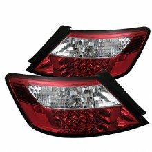 2006-2008 Honda Civic 2Dr LED Tail Lights (PAIR) - Red Clear (Spyder Auto)